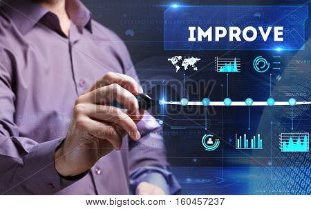 Technology, Internet, Business And Marketing. Young Business Man Writing Word: Improve