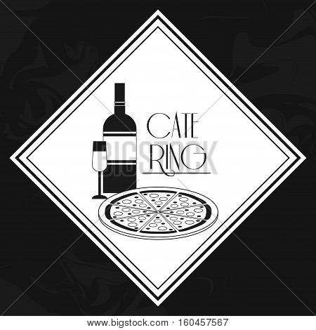 box noodle pizza catering service menu food icon. Silhouette illustration