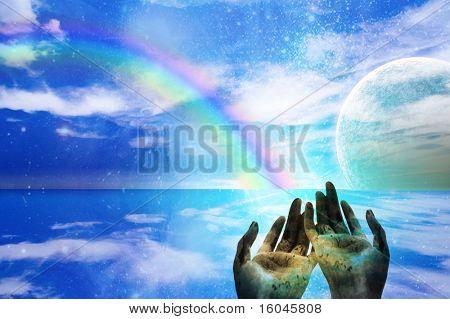 Hands Gesture Toward Alien World