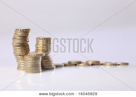 British Gold Pound Sterling Coins In A Stack