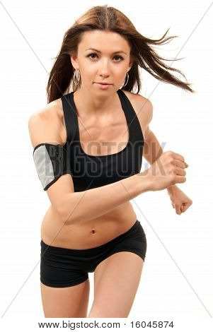 Fitness Woman On Diet  Jogging, Running In Gym