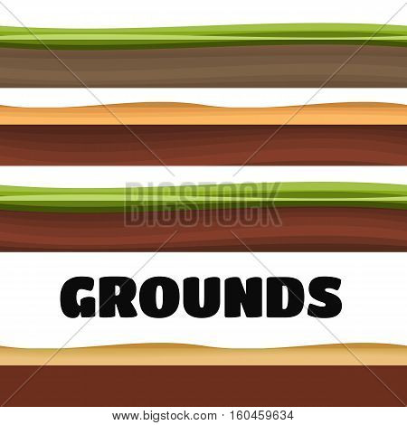Seamless Grounds Soil And Grass For Ui Game Illustration of a set of various seamless grounds soils and land foreground area
