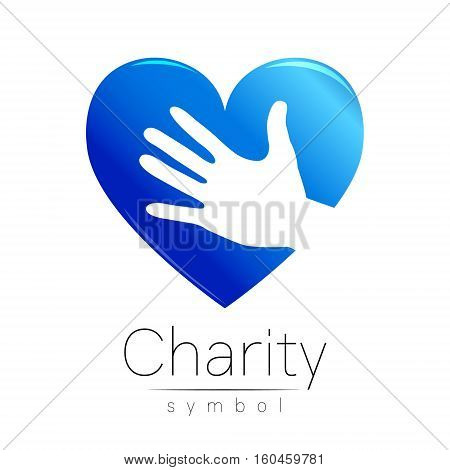 Vector illustration. Symbol of Charity. Sign hand heart isolated on white background.Blue Icon company, web, card. Modern bright element. Charity for orphans Help kids campaign. Family children image