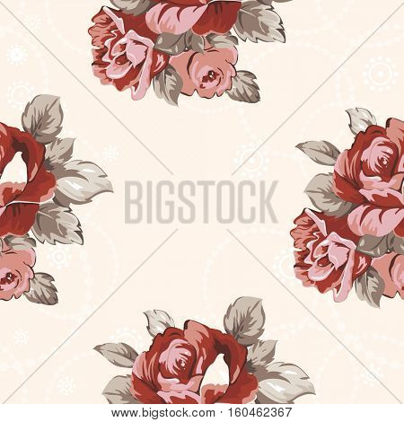 Seamless floral pattern with red roses Vector Illustration EPS8