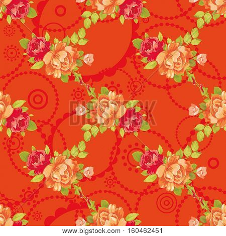 Seamless floral pattern with yellow roses Vector Illustration EPS8
