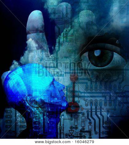 Resumen de la tecnología humana ilustración en tono fresco