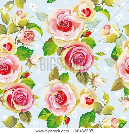 Seamless floral pattern with beautiful roses Vector Illustration EPS8
