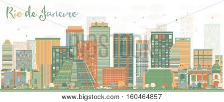 Abstract Rio de Janeiro Skyline with Color Buildings. Vector Illustration. Business Travel and Tourism Concept with Modern Architecture. Image for Presentation Banner Placard and Web Site.