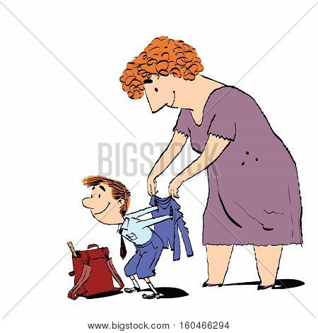 Grandma or the nanny accompanies her grandson to school. Adults and children. Morning boy. Color sketch drawing