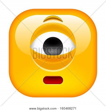 Worried Cyclop Emoticon. Square Yellow Smile. Vector Illustration