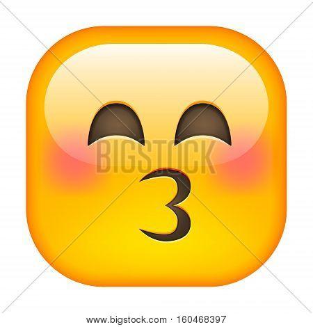 Kissing Emoticon. Kissing Square Smile