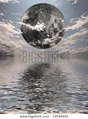 High Resolution 3D Illustration of moon over water