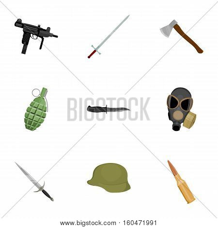 Weapon set icons in cartoon style. Big collection of weapon vector symbol stock