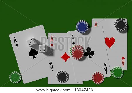Poker Cards Dices And Casino Chips