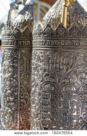 Jerusalem, Israel - November 2 , 2016: Silver Torah Case at Bar Mitzvah Ceremony at the Western Wall in Jerusalem Old City. Bar Mitzvah is the Jewish rite of passage from boyhood to manhood.