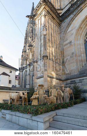 Straw Nativity Scene At St. Vitus Cathedral In Prague