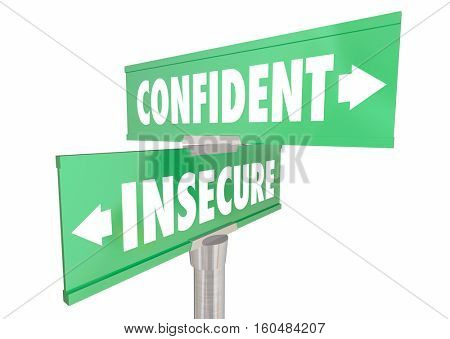 Confident Vs Insecure Sure Confidence Signs 3d Illustration