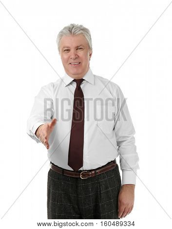 Senior businessman on white background