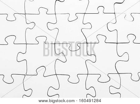 white blank jigsaw puzzle complete solution business concept