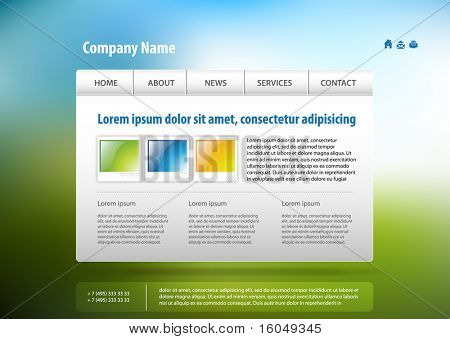 Web site template, vector.