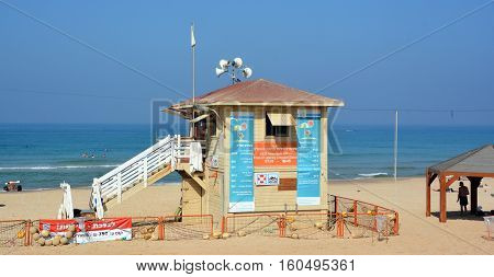 TEL AVIV ISRAEL 04 11 16: House of lifeguard in Tel Aviv beach. Shallow waters and the constant presence of lifeguards will help ease the minds of all the young parents out there.