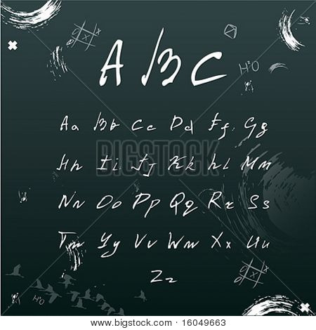 Vector hands draw font. School  theme.