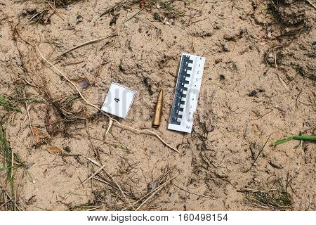 Crime investigation. Evidence at the crime scene.