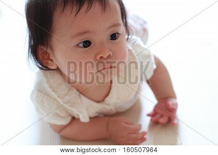 Crawling Japanese baby girl (0 year old)
