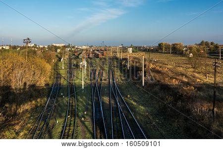 Railroad turnout point in Kovel Ukraine. Railway transportation infrastructure.