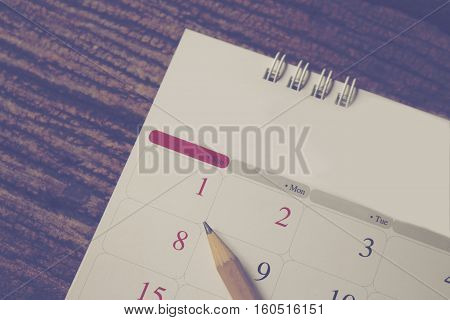 calendar new year of 2017 of first day on January pencil on calendar for remark or memo.
