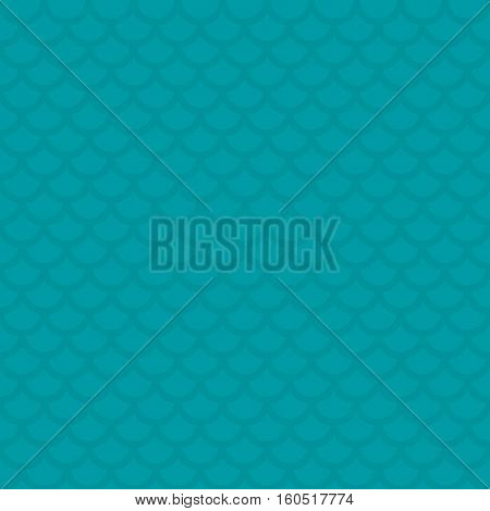 Fish scale. Turquoise Neutral Seamless Pattern for Modern Design in Flat Style. Tileable Geometric Vector Background.