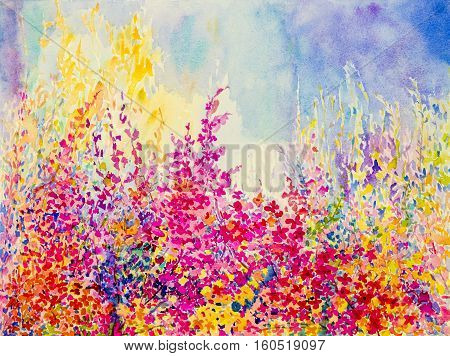 Abstract watercolor original landscape painting imagination colorful of beauty flowers and emotion in blue background.