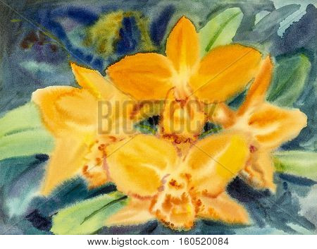 Abstract watercolor original painting yellow color of orchid flower and green leaves in blue background.