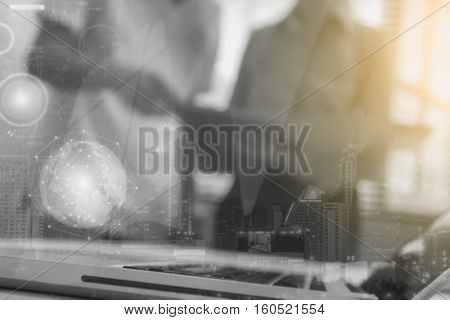 Double Exposure Of Business People Meeting To Discuss The Situation On The Marketing And Talk About