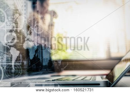 Double Exposure Of Business Woman Drinking Coffee Near Window, Film Effect, Copy Space.