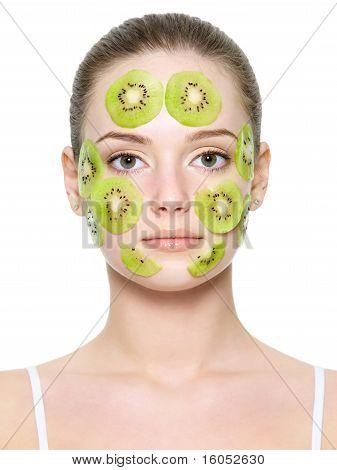 Fruit Facial Mask On Female Face