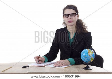 Strict woman teacher with a globe on a white background