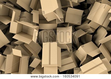 3d rendering of huge amount of light beige empty cardboard mail boxes lying together in disorder, top view. Postal services. Packing and crating. Storage of different products. Compartments for packages.