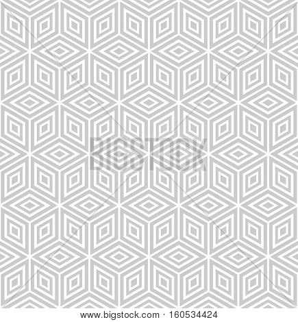 Seamless geometric texture. Diamonds and hexagons pattern. 3D illusion. Vector illustration.