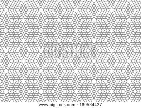 Seamless geometric pattern. 3D illusion. Latticed texture. Vector art.