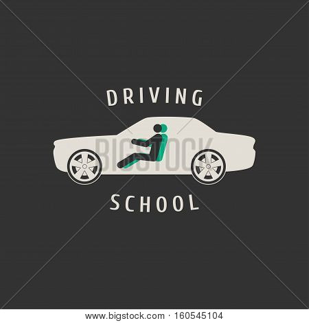 Automobile driving school vector logo sign emblem. Car auto silhouette design element. Driving lessons concept illustration insignia advertising