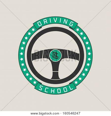 Driving school vector logo sign symbol emblem. Steering wheel design element concept illustration for driving lessons obtain company