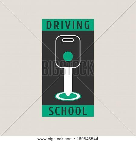 Driving school vector logo sign symbol emblem. Key in car starter graphic design element. Professional driving lessons for auto license concept illustration