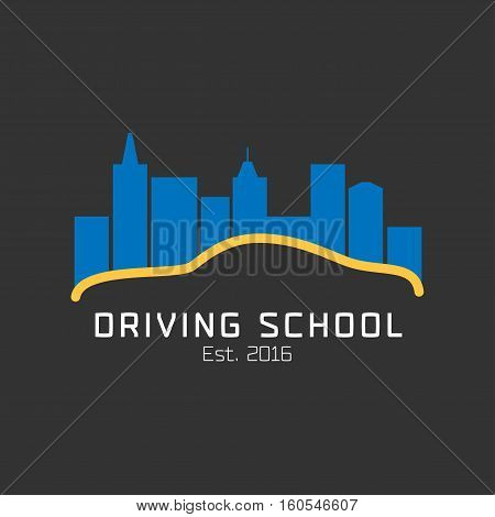 Driving school vector logo sign symbol emblem. Car driving along night city graphic design element. Driving lessons concept illustration
