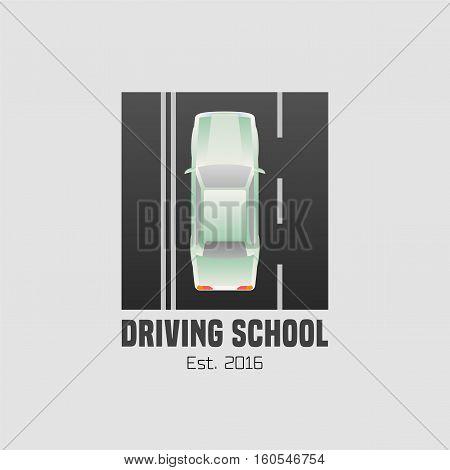 Driving school vector logo sign symbol emblem. Car driving on the street graphic design element concept illustration