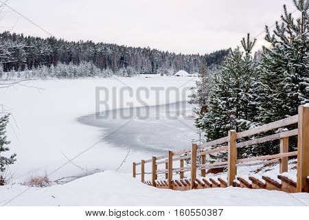 Winter landscape - stairs down to the frozen forest lake - pines under snow