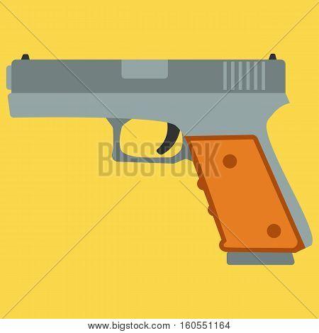 Pistol handgun security and military weapon. Metal pistol gun. Criminal and police firearm vector illustration.