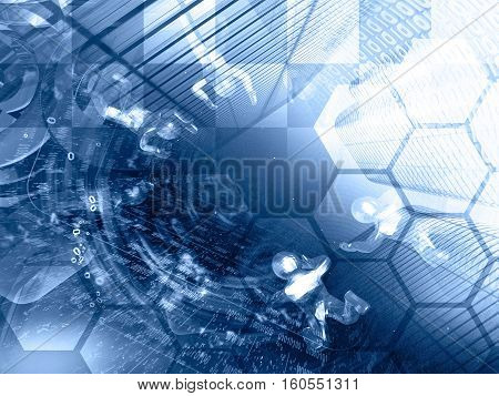 Digits buildings and mans on the black - abstract computer background in blues.