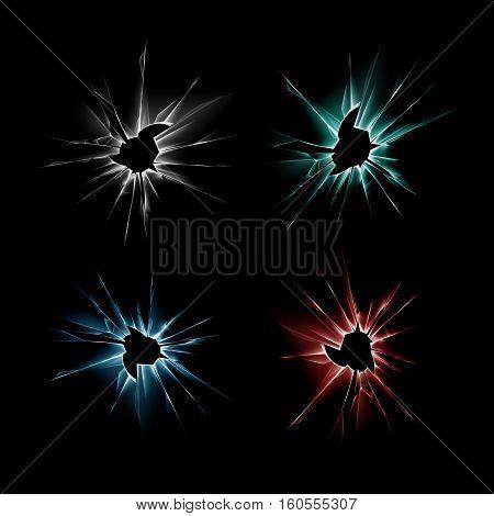 Vector Set of Blue Red Green Broken Shattered Crack Glass Window Crack with Sharp Edges Close up on Dark Black Background