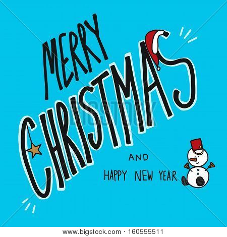 Merry Christmas and Happy New Year, cute snowman on blue background